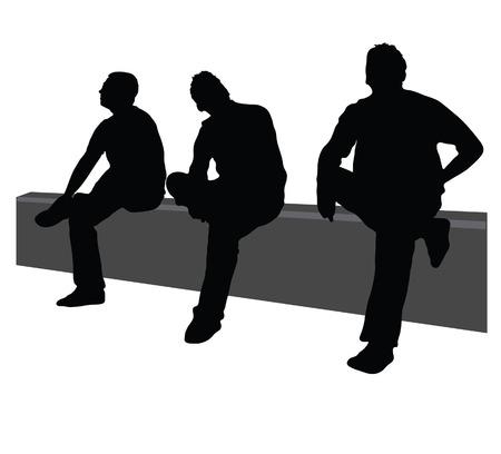 three men: three men sit on the fence on white background