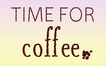 cappucino: tijd voor koffie bonen woord vector illustratie