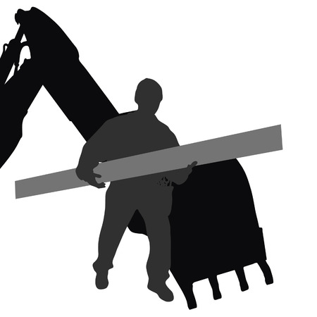 carries: worker carries material by machine vector silhouette Illustration