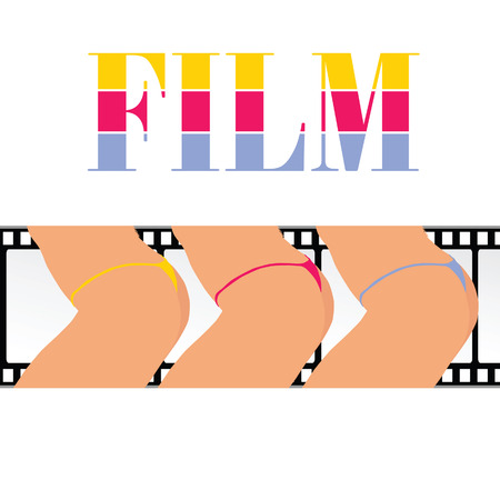 woman ass with film track vector illustration Vector
