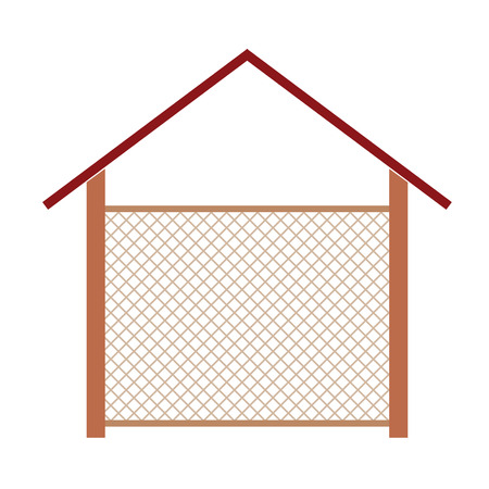 rural wooden bucket: wooden house for the well vector illustration Illustration