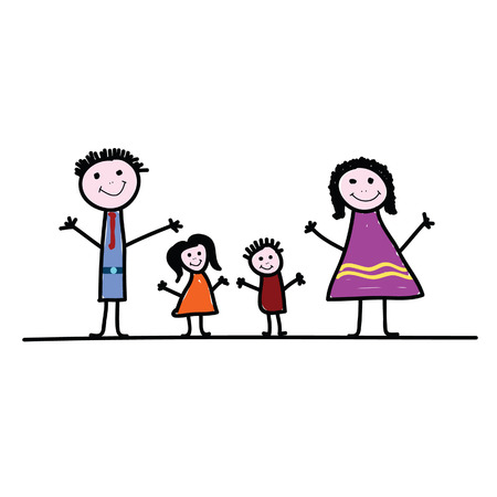 cousin: family cartoon color vector illustration on a white