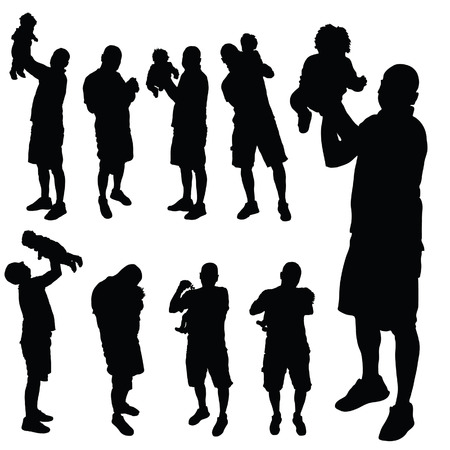 father with baby vector silhouette illustration Vector
