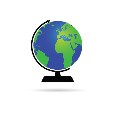 multinational: globe of the world color vector illustration on a white Illustration
