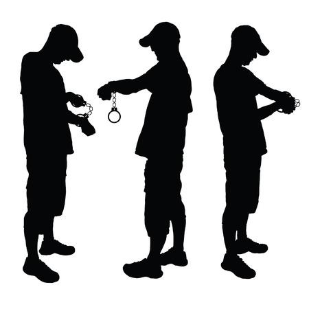 Uomo con manette nero illustrazione vettoriale su bianco Archivio Fotografico - 34141427