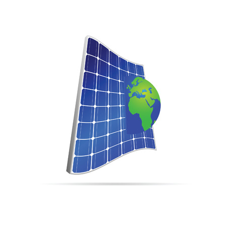 solar panel with earth color vector on white Vector