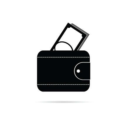 billfold: wallet black and white vector silhouette illustration