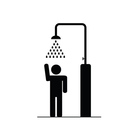 cabine de douche: l'homme dans la douche ic�ne illustration vectorielle Illustration