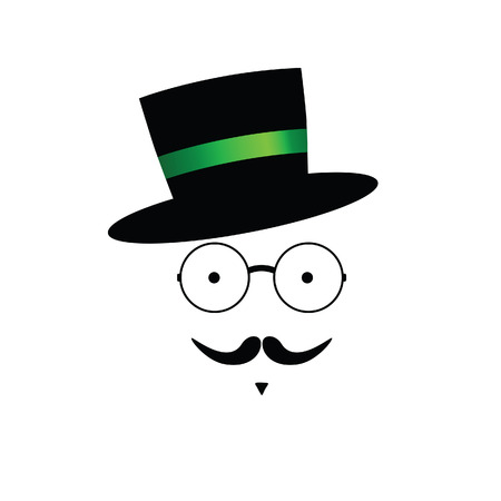 green tophat: mustache face with hat color vector illustration