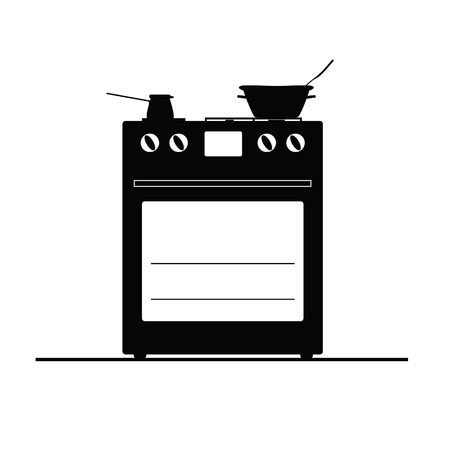 stove black and white vector illustration on a white Vector