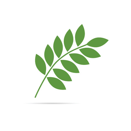 a twig: twig with leaves green vector illustration