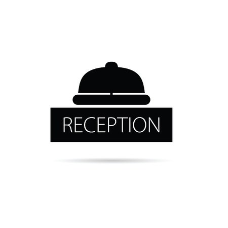 concierge: reception bell icon vector illustration on white