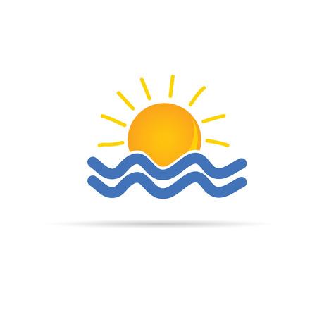 zon en zee pictogram kleur vectorillustratie