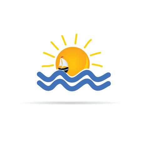zon en zee met boot pictogram kleur vector illustratie Stock Illustratie