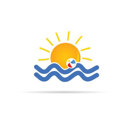 sun icon with beach ball color vector illustration Vector