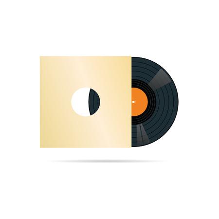 vinyl disk player: vinyl record in blank cover vector illustration