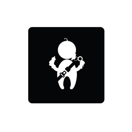 seat belt: baby with seat belt icon vector illustration Illustration