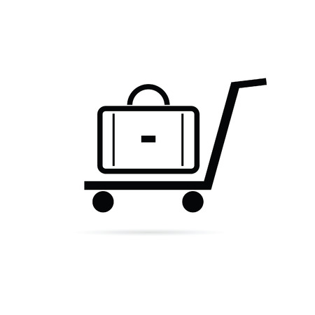 trolley case: bag on the trolley vector icon illustration Illustration