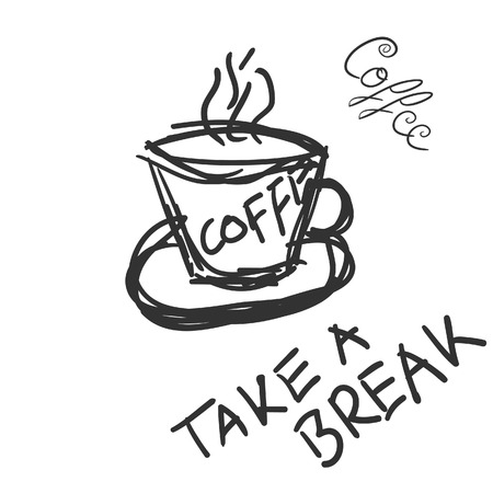 demitasse: cup of coffee with message to break Illustration