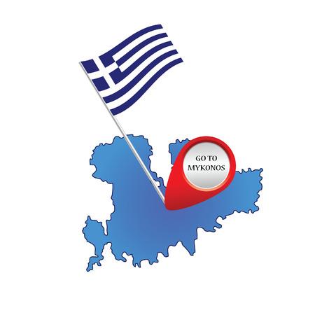 map of mykonos greece color vector illustration Vector