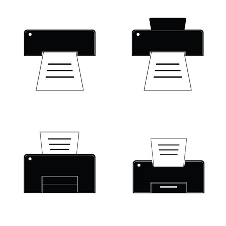 printer black and white vector illustration Illustration