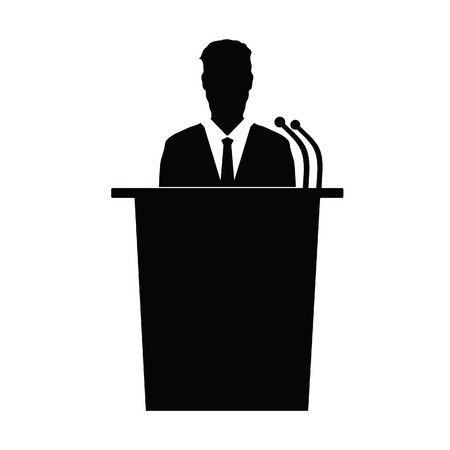 narrator: speaker talk vector silhouette illustration