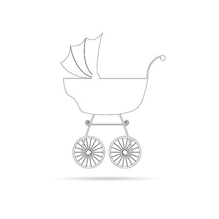 baby stroller: baby stroller ancient beauty black vector Illustration