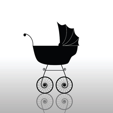 nanny: baby stroller ancient black vector illustration Illustration
