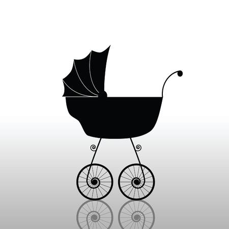 baby stroller old black vector illustration
