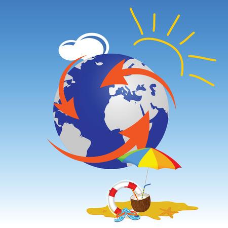 life saver: globe with summer stuff vector travel illustration