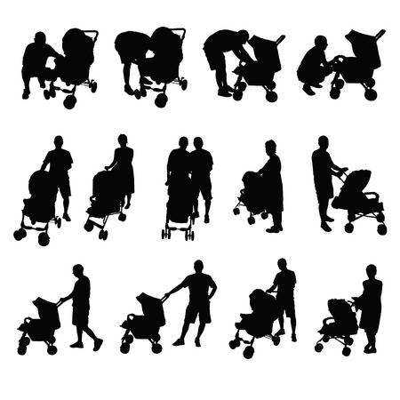 mother and father with baby stroller vector silhouette