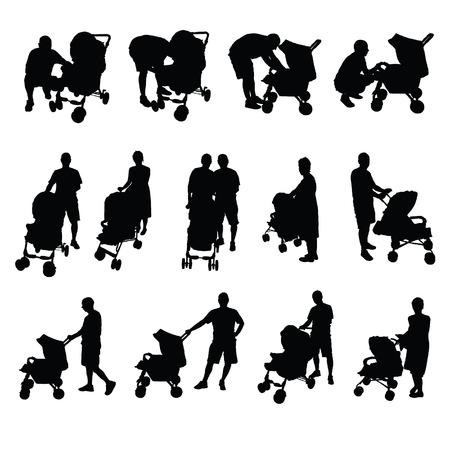 vader en moeder met kinderwagen vector silhouet Stock Illustratie