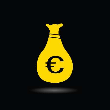 money euro: sack of money euro color vector ilustration