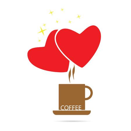 joyfulness: coffee love color vector