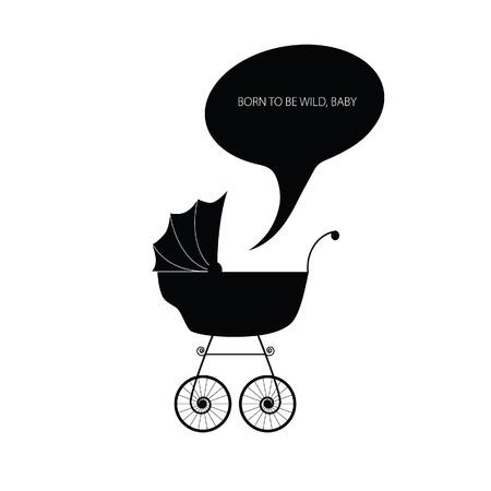 baby stroller: baby stroller vector silhouette Illustration