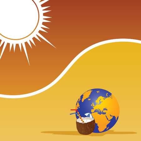 suntan cream: beach and coconut color vector Illustration