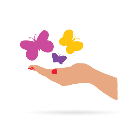 hand with butterfly color vector