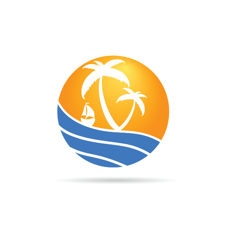 palm with sea icom color vector