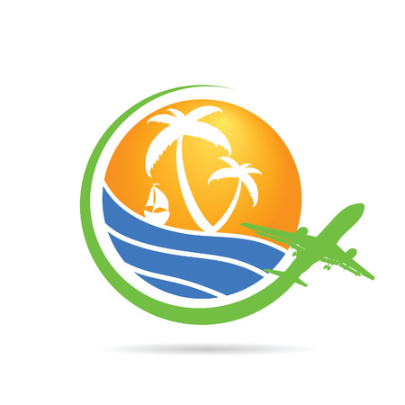 suntan cream: palm with sea with airplane icon color vector