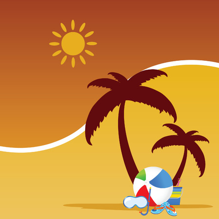 stuff: summer stuff color vector Illustration