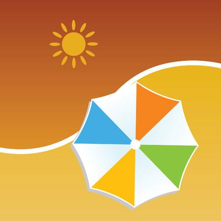 suntan cream: summer with umbrella color vector