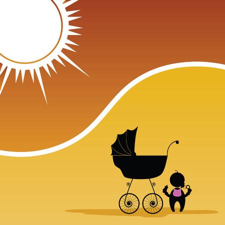 Bambino e passeggino colore vettore silhouette Archivio Fotografico - 38097080