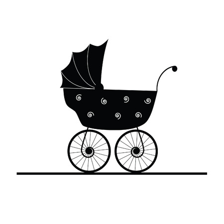 baby stroller cartoon vector Illustration