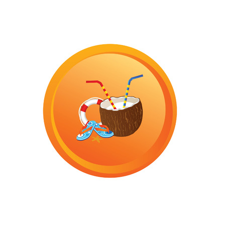 suntan cream: beach stuff button vector Illustration