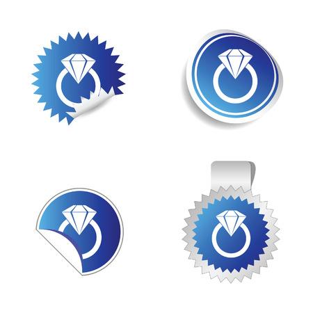rubin: diamond sticker blue vector illustration