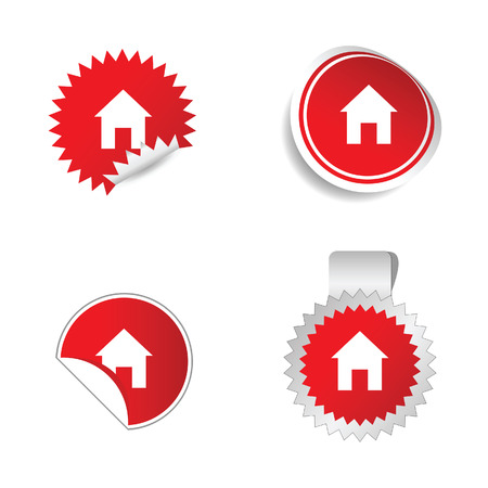 sticker vector: house red sticker vector illustration