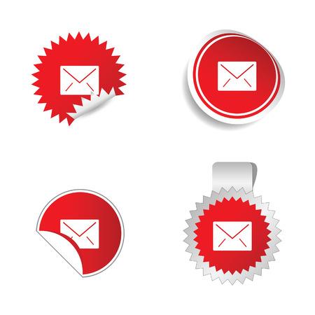outage: letter envelope sticker red vector illustration