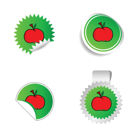 health collage: sticker green color with red apple vector