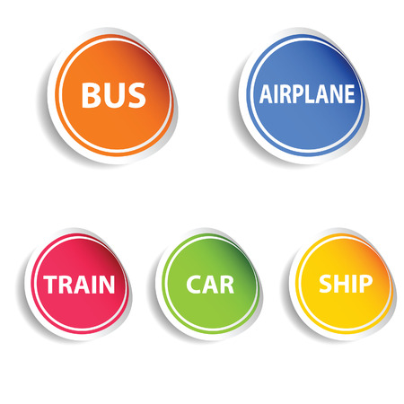 sticker with transport set color vector on white Vector