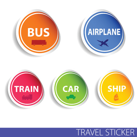 travel sticker color vector illustration in colorful Vector